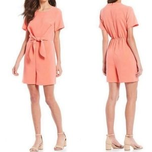Gibson Latimer Melon Tie Front Romper Size Small